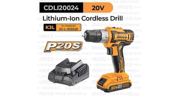 P20S Cordless Drill (10mm, 45Nm) INGCO CDLI20024 Bor Baterai Kayu Besi Portable 20 V