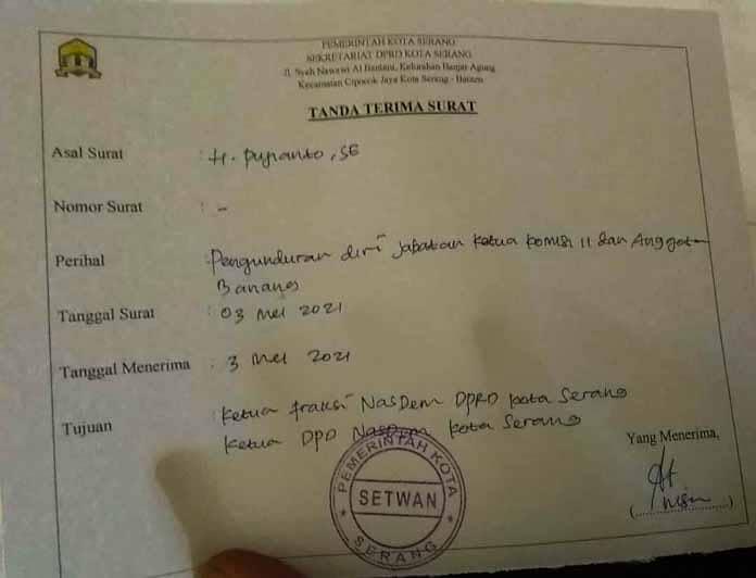 Ketua Komisi II DPRD Kota Serang Mengundurkan Diri, Kenapa? Begini Alasannya