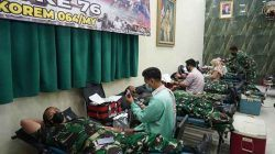 Sambut HUT TNI Ke-76, Korem 064/MY Bersama Denkesyah 03.04.04 Gelar Donor Darah